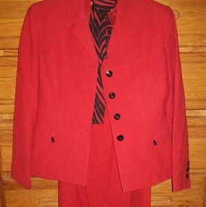 Kasper, Red Skirt Suit, 2P